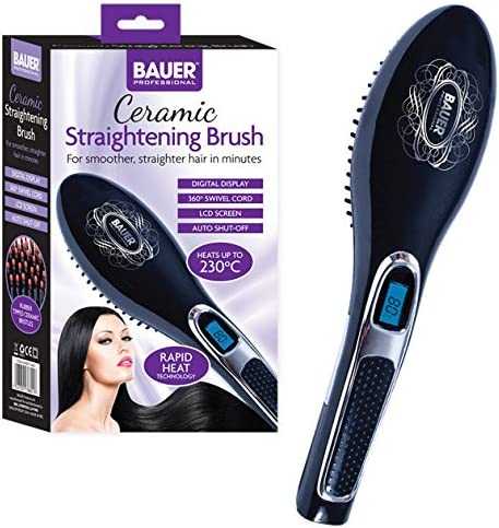 Bauer Professional Heated Hair Straightening Brush ~ Ceramic Design ~ Black ~ 38820