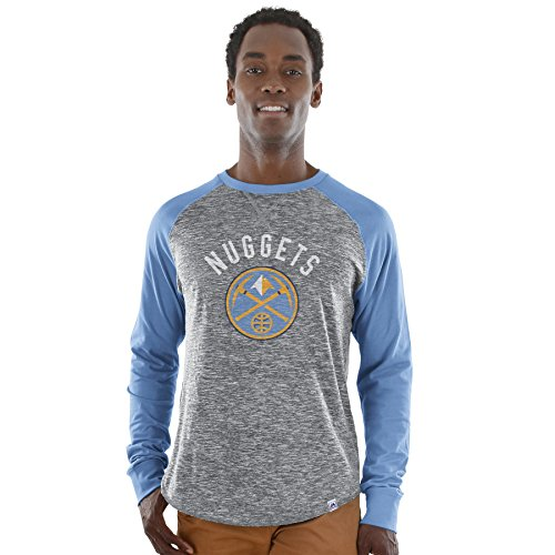 (Majestic NBA Men's National Exposure Heathered Long Sleeve Shirt (Small, Denver Nuggets))