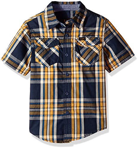 Drees Up Boys (LEE Boys' Little Short Sleeve Button Up Shirt, Navy/Gold,)