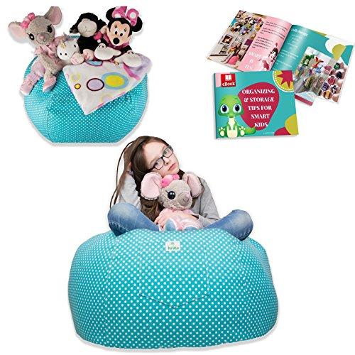 Kroco EXTRA LARGE Stuffed Animal Storage Bean Bag Chair for Kids - Toy Storage Bag - Storage Beanbag Chair for Stuffed Animals (38'',Turquoise, ()
