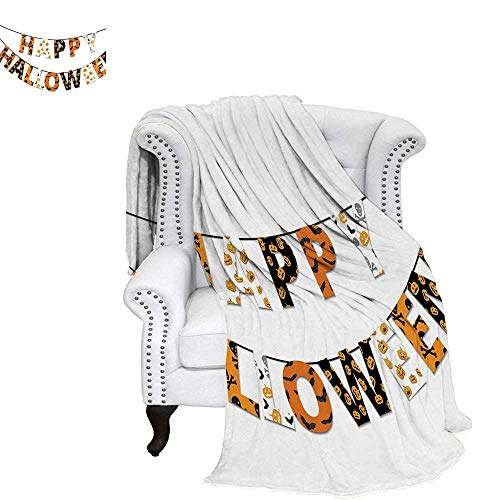 WilliamsDecor Halloween Blanket Happy Halloween Banner Greetings Pumpkins Skull Cross Bones Bats Pennant Digital Printing Blanket 90