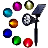 KAWOTI Solar Garden Lights, 7 LED Solar Spot light Bright & Dark Sensing Auto On/Off In-ground Light for the Yard Patio Lawn Landscape Lighting Outdoor Waterproof Security (Changing Color) (colorful) For Sale