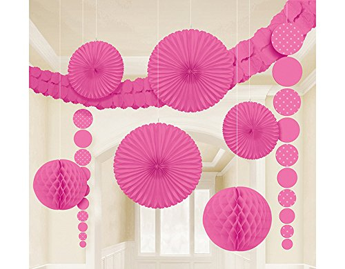 Bunte Hänge Party Dekoration 9-teiliges Set Pink - Tolle Deko Artikel in verschiedenen Farben