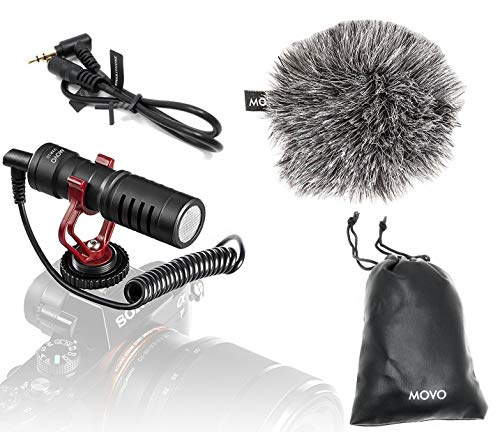 Movo VXR10 Universal Video Microphone with Shock Mount, Deadcat Windscreen, Case for iPhone, Android Smartphones, Canon EOS, Nikon DSLR Cameras and Camcorders from Movo