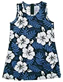 RJC Girl's White Hibiscus Fern Short Tank Hawaiian Dress, Blue, 8
