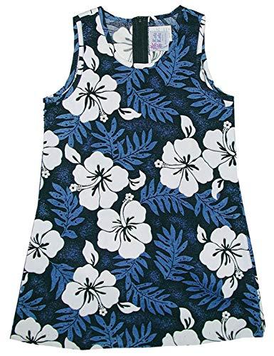 RJC Girl's White Hibiscus Fern Short Tank Hawaiian Dress, Blue, 8 by RJC