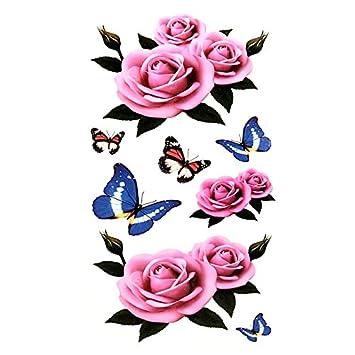 Amazon Com Oottati Small Cute Temporary Tattoo Pink Rose 2 Sheets