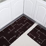 Black Kitchen Slip-Resistant Blades Pavement Bath Rooms Hydration Anti-Slip-Oil-pad Bedrooms Rug Washing-E 50 x 80 cm (20 x 31 Customs)