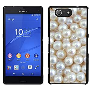 For Sony Xperia Z3 Compact , S-type® White Mother Of Glitter Shiny Bling - Arte & diseño plástico duro Fundas Cover Cubre Hard Case Cover