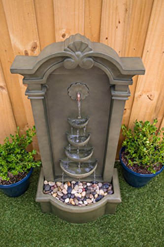 Kenroy Home 51021MS Cathedral Indoor/Outdoor Floor Fountain, 44 Inch Height, Moss Stone - DIMENSIONS: 44 inch Height, 20 inch width, 12 inch Extension LED LIGHTS: Outfitted with energy efficient and long-lasting LED bulbs perfect for creating shimmering water effects WATERPROOF LIGHT SWITCH: Using separate power solutions for both the pump and light kit allows for the independent  operation  of the pump and light - patio, outdoor-decor, fountains - 519wXrHVhEL -