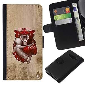 KLONGSHOP // Tirón de la caja Cartera de cuero con ranuras para tarjetas - Tigre de bebé - Samsung Galaxy Core Prime //