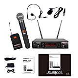 Phenyx Pro UHF Wireless Microphone System, Selectable Frequency, 200 Channels, 1 Metal Handheld Mic 1Headset Mic 1 Lapel Mic 1 Bodypack, for Presentation, Interviews, Youtube(PTU-71)
