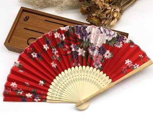 Red Japanese Chinese Handmade Pocket Fan Plum Blossom Flower Print Folding Hand Fans Matrimonio by Hand Fan