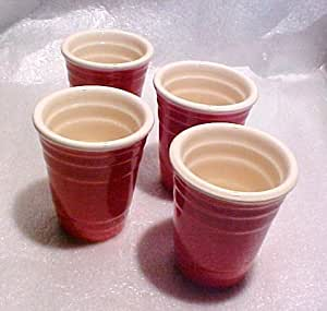 """""""Fill Me Up Red Solo Cup"""" Ceramic Shot Glasses Party Pack 4 gift set"""