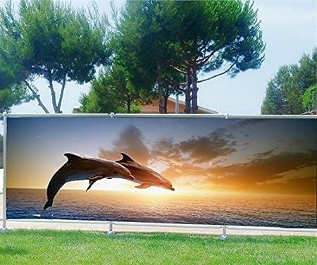 StickersNews Brise Vue, jardín, terraza, balcón Déco Delfines, plástico Tela, 100%, 340 x 132 cm: Amazon.es: Hogar