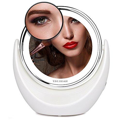 7x Vergrößerung LED Makeup Spiegel Schminkspiegel Vergrößerungsspiegel Tabletop 360° drehbar verchromt mit hellen LED Lichtern, kabelloser tragbarer Kosmetikspiegel für Reisen Rasieren Zahnseide Makeup 8 Zoll