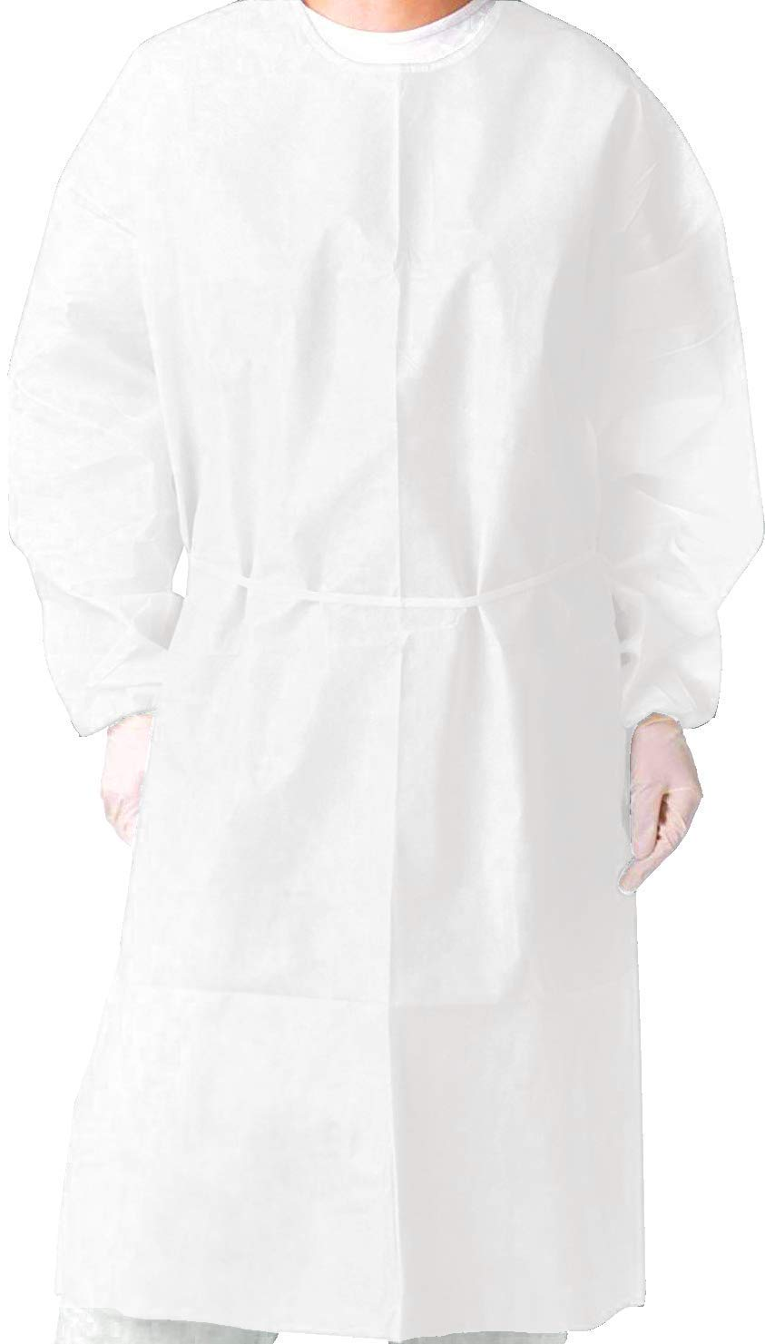 Isolation Gown with Elastic Cuff -Disposable Non-Woven, Splash Resistant, one size fits all (White- Case/50 pcs)