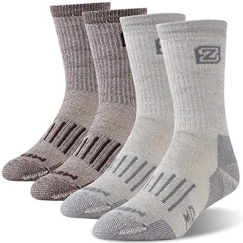 ZEALWOOD Men's Merino Wool Warm Thermal Hiking Socks,2 Pairs,Grey/Brown,Large