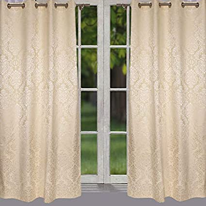 46bb28481 Buy Home- The best is for you Designer self Design/Woven Cream Cotton  Curtain (5 Feet Door, Cream) Online at Low Prices in India - Amazon.in