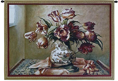 Tulips in Oriental Vase   Woven Tapestry Wall Art Hanging   Softly Lit Floral Bouquet Still Life   100% Cotton USA Size 53x36 ()