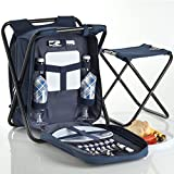 VonShef 2 Person Blue 2 in 1 Picnic Backpack Hamper & Stool with Cooler Bag & Tableware - Complete with stand alone stool