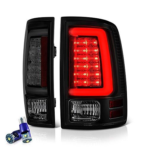 D Tube Tail Light Lamp For 2009-2018 Dodge RAM 1500 2500 3500 - [Factory Incandescent Model] - CREE LED Reverse Bulbs, Matte Black Housing, Smoke Lens, Driver & Passenger Side ()