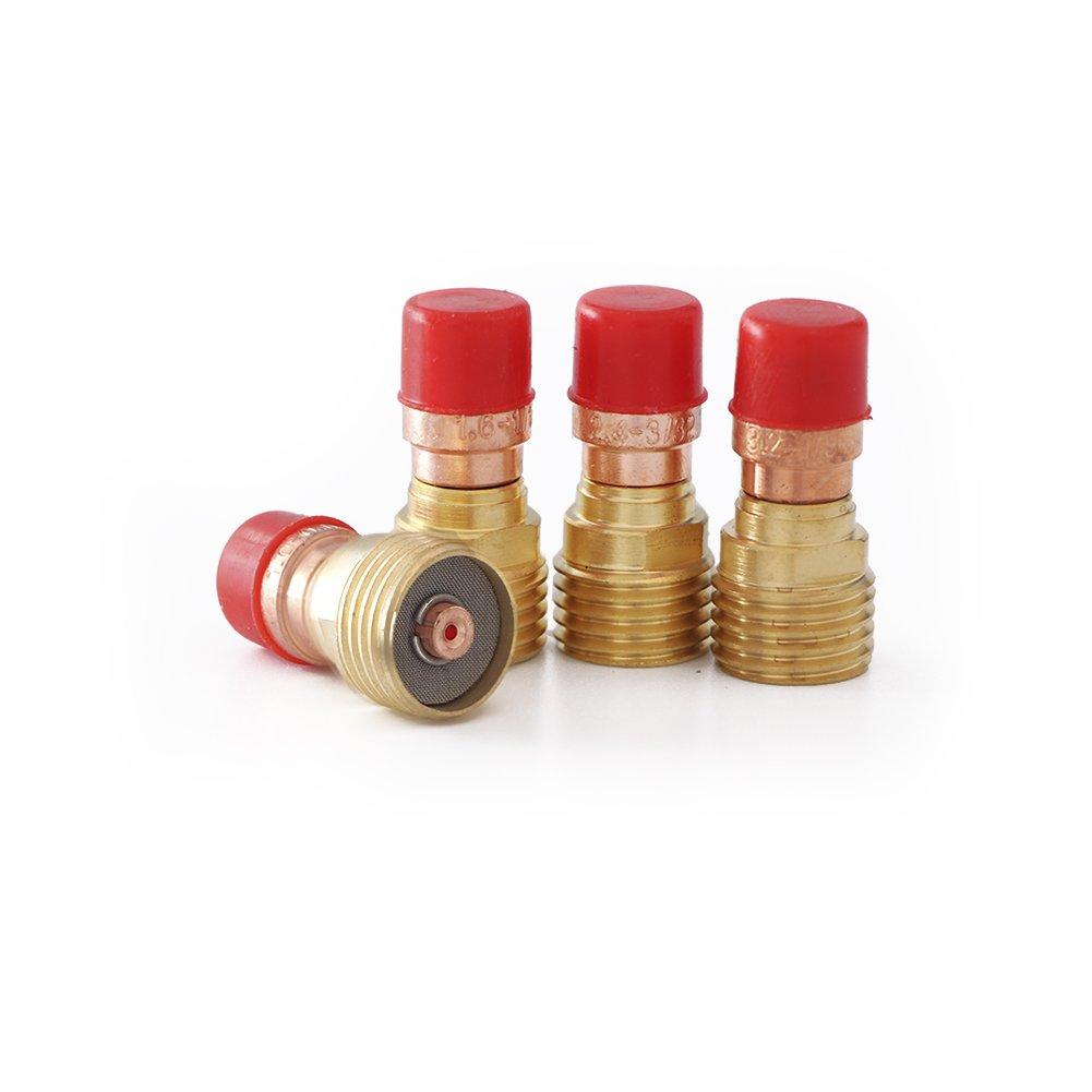 TIG 17//18//26 Series Torches Stubby Gas Lens Kit Collets Alumina Nozzles Back Cap Kit 21pcs