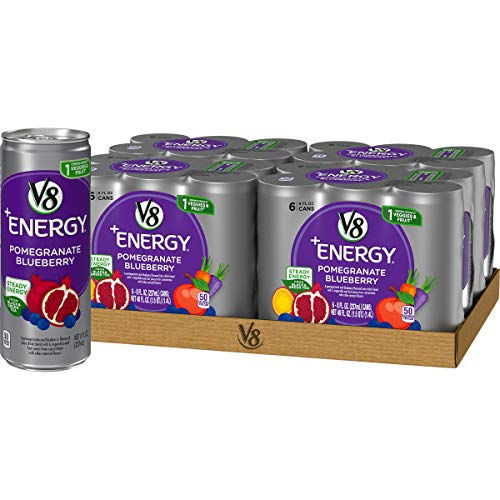 519wZDMUgXL - V8 +Energy, Healthy Energy Drink, Natural Energy from Tea, Pomegranate Blueberry, 8 Fl Oz Can (6 Count (Pack of 4), Total of 24)