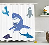 Small Bathroom Decor Ideas Sea Animal Decor Shower Curtain by Ambesonne, Grunge Style Big and Small Sharks with Open Mouth Predator Jaws Image, Fabric Bathroom Decor Set with Hooks, 70 Inches, Royal Blue