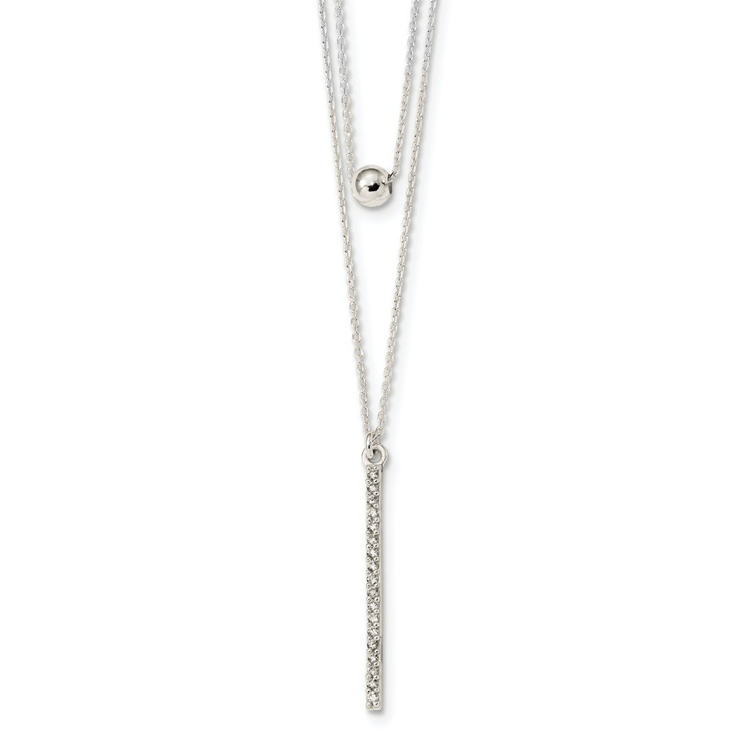 ICE CARATS 925 Sterling Silver Cubic Zirconia Cz Bar Bead 2 Strand 16 Inch Chain Necklace Pendant Charm Fine Jewelry Ideal Gifts For Women Gift Set From Heart