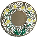 Emerald City Imports Mirror Floral Mosaic Glass Hand Made Wood Wall Decor 16'' D YELLOW