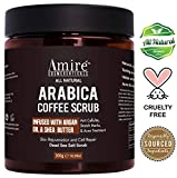 All Natural Arabica Coffee Body Scrub, Infused with Argan Oil and Shea Butter, Great for Acne, Anti Cellulite and Stretch Mark Treatment, Helps with Eczema and Age Spots