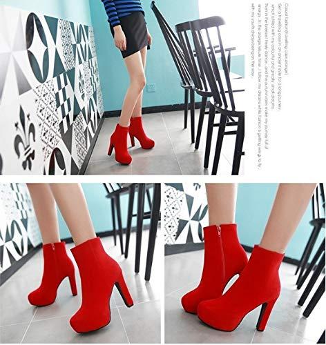 Kopf High Stiefel Modelle Heels HCBYJ Damenschuhe Stiefel und Herbst Mode Braut Leder mit Runden Hochhackigen Winter Wilden Niedrigen Stiefel dick TwOqd