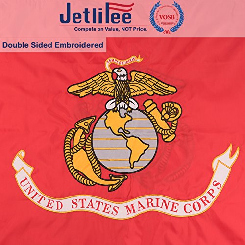 Jetlifee Marine Corps flag 3×5 Ft USMC Double Sided Flag by Veteran Owned Biz. Heavy Duty Nylon Embroidered With Brass Grommets U.S. Marine Corps Military Flag 3 x 5 Foot All Weather UV Protected USMC For Sale
