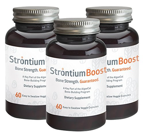 Strontium Boost - Natural Strontium Citrate Supplement - Scientifically Proven to Increase Bone Density in 6 Months - 60 Easy-to-Swallow Veggie Capsules - 3 Bottles