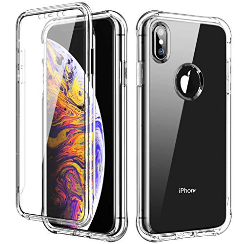 (SKYLMW Case for iPhone Xs MAX 6.5 inch, [Built in Screen Protector] Full Body Shockproof Dual Layer High Impact Protective Hard Plastic & Soft TPU with Cover Cases for iPhone X/XS MAX 2018,Clear)