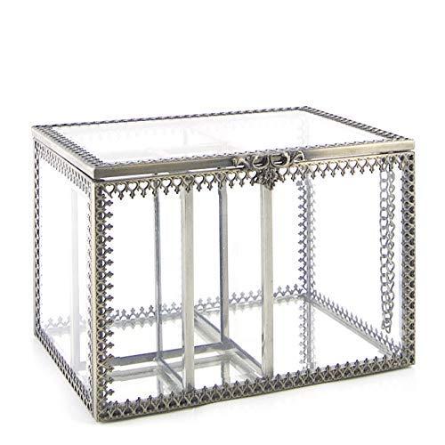 JC MAN Cotton Pad Holder Glass Cotton Swabs Holder Makeup Organizer Vintage Brass Style Stroage Box