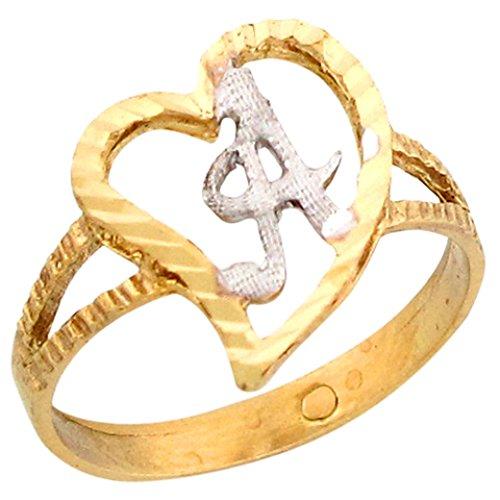 14k Two Tone Gold Fancy Cursive Letter A Unique Heart Initial Ring