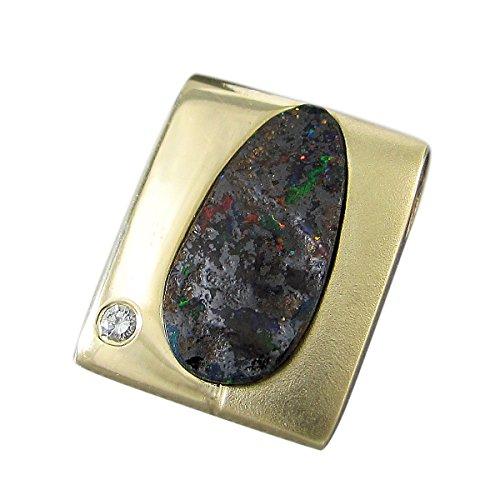 Michel de bijoux unique pendentif Femme Or 585Boulder Opale 2,5carats + Brillant (N7)