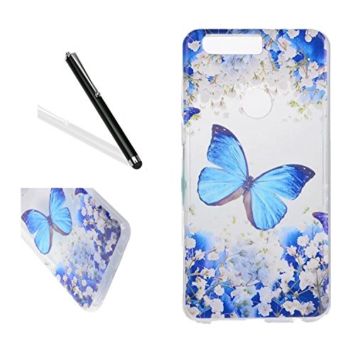 Huawei Honor 8 Silicone Case,,Leeook Clear Slim Fit Soft Flexible Pretty Blue Flower Butterfly Pattern Gel Bumper Transparent Rubber Protective Back Case Cover for Huawei Honor 8-Blue Flower Butterfly