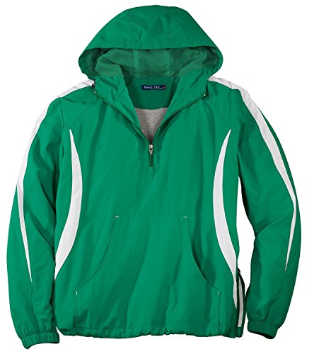 - Sport-Tek Men's Colorblock Raglan Anorak - Kelly Green/White JST63 L