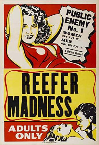 Reefer Madness Adults Only Marijuana Propaganda Movie Poster 24x36 Inch