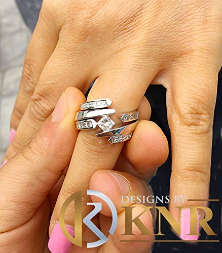 Women's 14k solid and Heavy white gold princess simulated diamond engagement ring two bands tension set bridal set wedding set