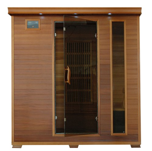 (SA1318 Klondike 4 Person Cedar Infrared Sauna with 7 Carbon Heaters Bronze Tinted Tempered Glass Door Oxygen Ionizer EZTouch Cortrol Panel CHROMOTHERAPY System and Sound System)