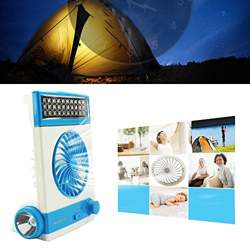 Price comparison product image 3 in 1 Multi-functional Solar Cooling Table Fans with Eye-Care LED Table Lamp Flashlight Solar Panel Adaptor Plug for Home Use Camping (Blue)
