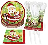 Christmas Party Supplies - Serves 24 - Includes Plates, Knives, Spoons, Forks, Cups and Napkins. Perfect Xmas Party Pack for Santa Christmas Themed Parties.