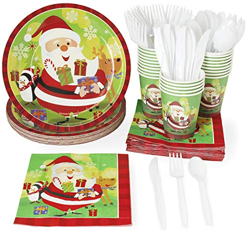 Christmas Party Supplies – Serves 24 – Includes Plates, Knives, Spoons, Forks, Cups and Napkins. Perfect Xmas Party Pack for Santa Christmas Themed Parties. ()