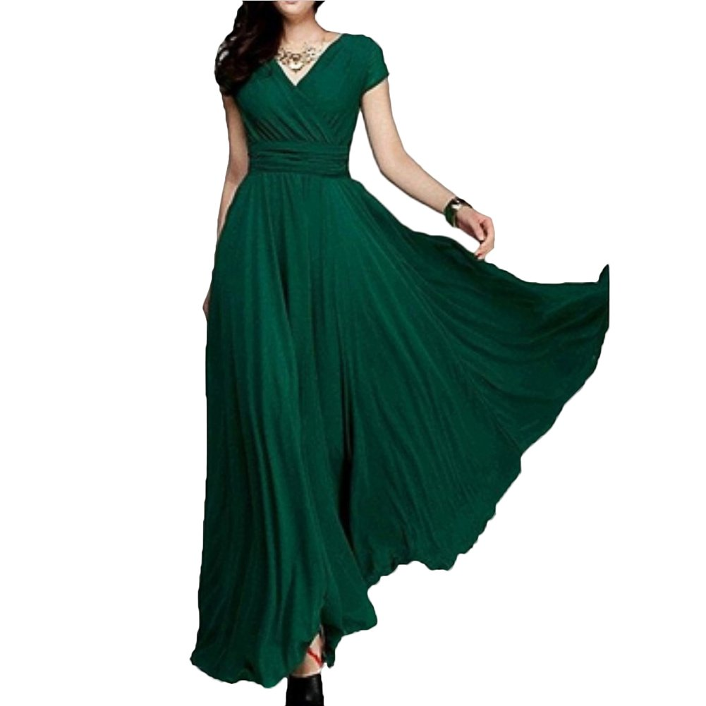 Scothen Sommerkleid Damen V-Ausschnitt Ärmellos Strandkleider Boho Casual Lang Maxikleid Cocktail Beachwear Chiffon Rock Partykleid Cocktailkleid