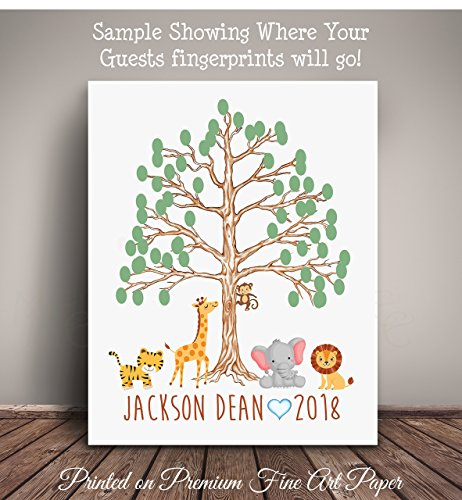 s Brown Thumbprint Tree Nursery Art -Serves as Guest Book for Baby Shower - Printed on Premium Quality Fine Art Paper JUBR003 ()