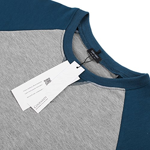 ... Coofandy Herren Langarmshirt Sweatshirt Freizeit Sport Pullover Loose  Fit Knotrastfarben mit 2-Tone Raglan ... b1c692b275